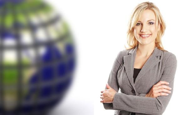 Woman by globe